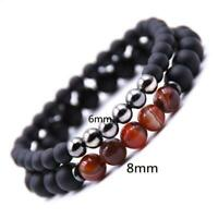 Black Gemstone Round Matte Beads Double Layer Bracelet LJ