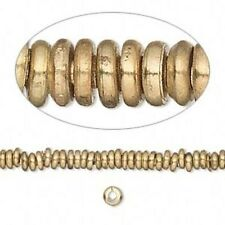 50 Solid India Raw Brass 4x1mm Flat Round Heishi Rondelle Handcrafted Beads