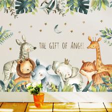 Cartoon Wall Stickers Baby Room Giraffe Elephant Animal Home Decals Nursery