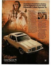 1978 Oldsmobile CUTLASS SUPREME White 2-door w/ Sun Roof VTG PRINT AD