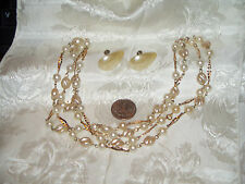 """VINTAGE FAUX PEARL& GOLD TONE LINK 52"""" NECKLACE+SBACK FAUX PEARL EARRINGS PRETTY"""