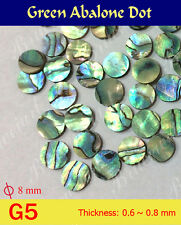 Free Shipping, Inlay Material - Green Abalone Dots 8mm 50pcs (GG5)