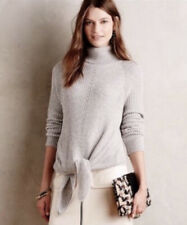 Anthropologie Moth Tie Front Turtleneck Sweater XS Light Gray