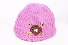 Dark Pink Thick Knit Hat W Hand Knit Flower Petals Leaves & White Beads (S118)