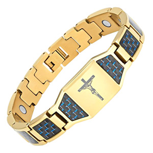 Christian Jesus Crucifix Cross Blue Carbon Fiber Titanium Magnetic Bracelet Gift