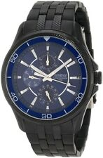 Armitron Men's 20/4701BLTI Black Ion-Plated Blue Multi-Function Dial Watch New