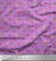 Soimoi Stoff Quadrat, Blätter & Lilie Blumen- Dekorstoff 1 Meter  - FL-1308G
