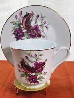 Vintage Royal Ann Bone China Teacup & Saucer Bird Flowers Gold Trim U.S.A.