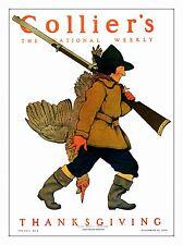 PRINT POSTER MAGAZINE COVER COLLIER HUNTER GUN THANKSGIVING TURKEY USA NOFL0630