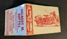 Vintage Delbert Guptill Harley Davidson Motorcycle Matchbook Dixon Illinois LQQK