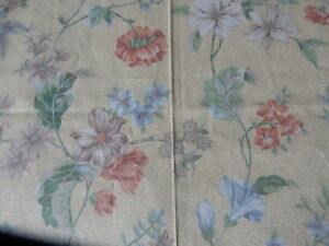 """Beautiful Piece of Light Weight Cotton Curtain Fabric Cream/Floral New 60"""" x 54"""""""