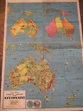 Greece rare vintage 1960's folding school triple Map of Australia by Chari Patsi