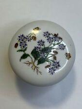 Ultra White Porcelain Dark Blue Wild Flower Cabinet Knob *SET OF 3*