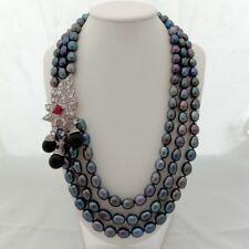 "22"" 3 Strands Black Rice Pearl Necklace Sea Shell Pearl CZ Pendant"