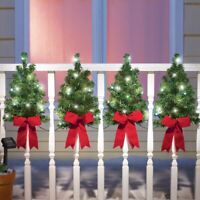 Set of 4 Evergreen Christmas Trees w/ Red Bows Outdoor Fence Porch Decorations