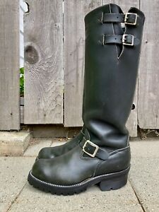 Wesco Tall Black Leather Big Boss Engineer Motorcycle Biker Boots Size 8D USA