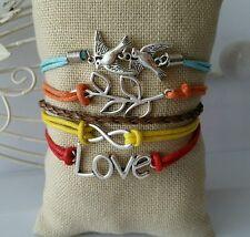 Leather Bracelet Multicolor Infinity Love Birds Charm Jewelry Silver US