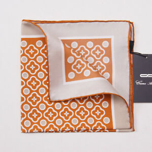 NWT CESARE ATTOLINI NAPOLI Orange-Beige Floral Medallion Silk Pocket Square