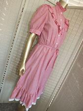Arc Vintage Retro Plaid Gingham Check Dorothy Costume Midi Full Skirt Dress S