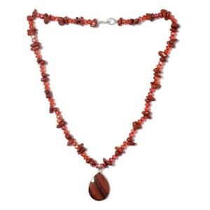 Red Jasper,  Glass & Red Tiger Eye Necklace Size 20 - 925S White Sterling Silver
