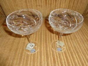 Mikasa English Garden Two Crystal Saucer Champagne Glasses NEW! in box