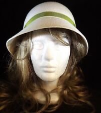 Funky Hat NEW 100% Wool Ivory with Green Ribbon Size 7.25 57cm (22.5 in) circm