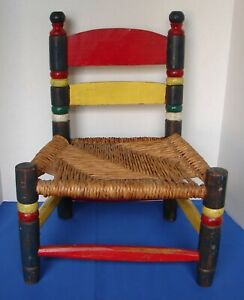 ANTIQUE CHILD'S CHAIR THATCHED SEAT DISTRESSED PAINTED PRIMARY COLORS ~ 1950'S