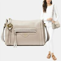 NWT🌼 Authentic $248 Michael Kors Leather Carine Crossbody Bag Light Sand Beige
