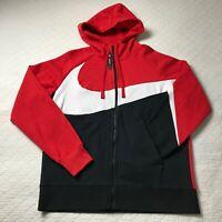 Nike Swoosh Hoodie Men's Full Zip SZ Large Red/White/Black BQ6458-657 NWT