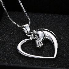 1PC Love Heart Chain Argent Femmes Cheval collier pendentif bijoux cadeaux