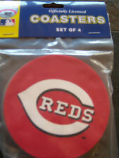 1 - 4 Pack Vinyl Drink Coasters, Cincinnati Reds logo