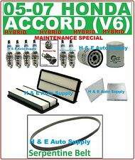 05-07 ACCORD HYBRID V6 TUNE UP KITS: SPARK PLUGS, BELT; AIR, CABIN & OIL FILTERS
