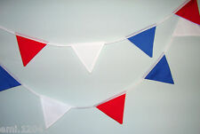 RETRO FABRIC BUNTING. RED/WHITE/BLUE. PARTY.