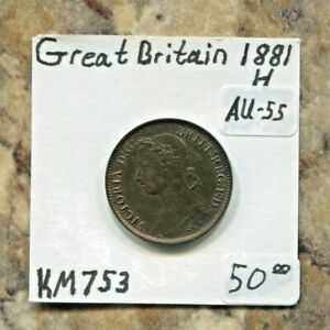 GREAT BRITAIN - BEAUTIFUL HISTORICAL QV FARTHING, 1881 H, KM# 753