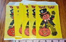 6 Vintage Trick Or Treat Bags,Yellow Scarecrow,fun world co,Vintage Halloween