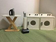 GORGEOUS Kidkraft Wooden Barbie Doll Furniture Laundry Room Ironingboard Vaccum