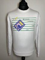 FILA White Retro Europe Canada Asia USA Jumper Sweatshirt Pullover M Medium