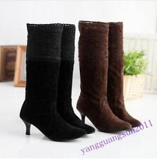 New Chic Ladies Pull On Faux Suede Lace Kitten Heel Cuffed Mid Calf Boots Shoes