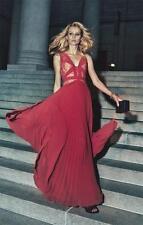$ 498 BCBG MaxAzria Evonne Lace-Blocked Pleated Gown  SZ  2