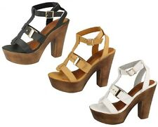 SPOT ON LADIES PEEP TOE CHUNKY HEEL PLATFORM BUCKLE ANKLE STRAP SANDALS F10454