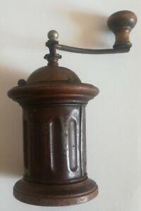Antico macinacaffè in legno e metallo smaltato 21,5 x 9,5 cm (235) Come da foto