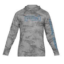 UA Under Armour HeatGear ISO Chill Shore Break Fish Hoodie - Color Grey Camo XL
