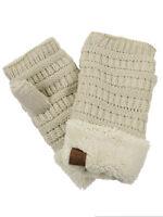 New! C.C Women's Warm Knit Fingerless Half Finger Fleece Lined Winter Gloves