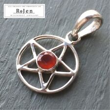 Solid 925 Sterling Silver Carnelian Pentagram Pendant wicca pagan pentacle