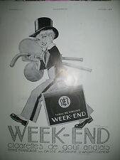 PUBLICITE DE PRESSE WEEK-END REGIE FR. CIGARETTES ILLUSTRATION RENé VINCENT 1933