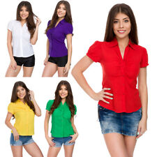 Womens Fastened Blouse Buttons Top with Collar and Puff Short Sleeves S-2XL FS61