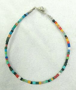Tiny Seed Tube Beads Multi Stone Bracelet Turquoise, Jade, Coral, Opal, Lapis