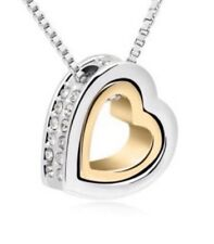 18K Gold Silver Plated HEART Genuine Austrian  Crystal Pendant Luxary Necklace