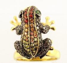 NEDA BEHNAM 18K GOLD FROG RING w NATURE TSAVORITE SAPPHIRE COGNAC DIAMOND