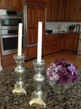 Beautifull pair of antique Castilian silver glass  candle holders,